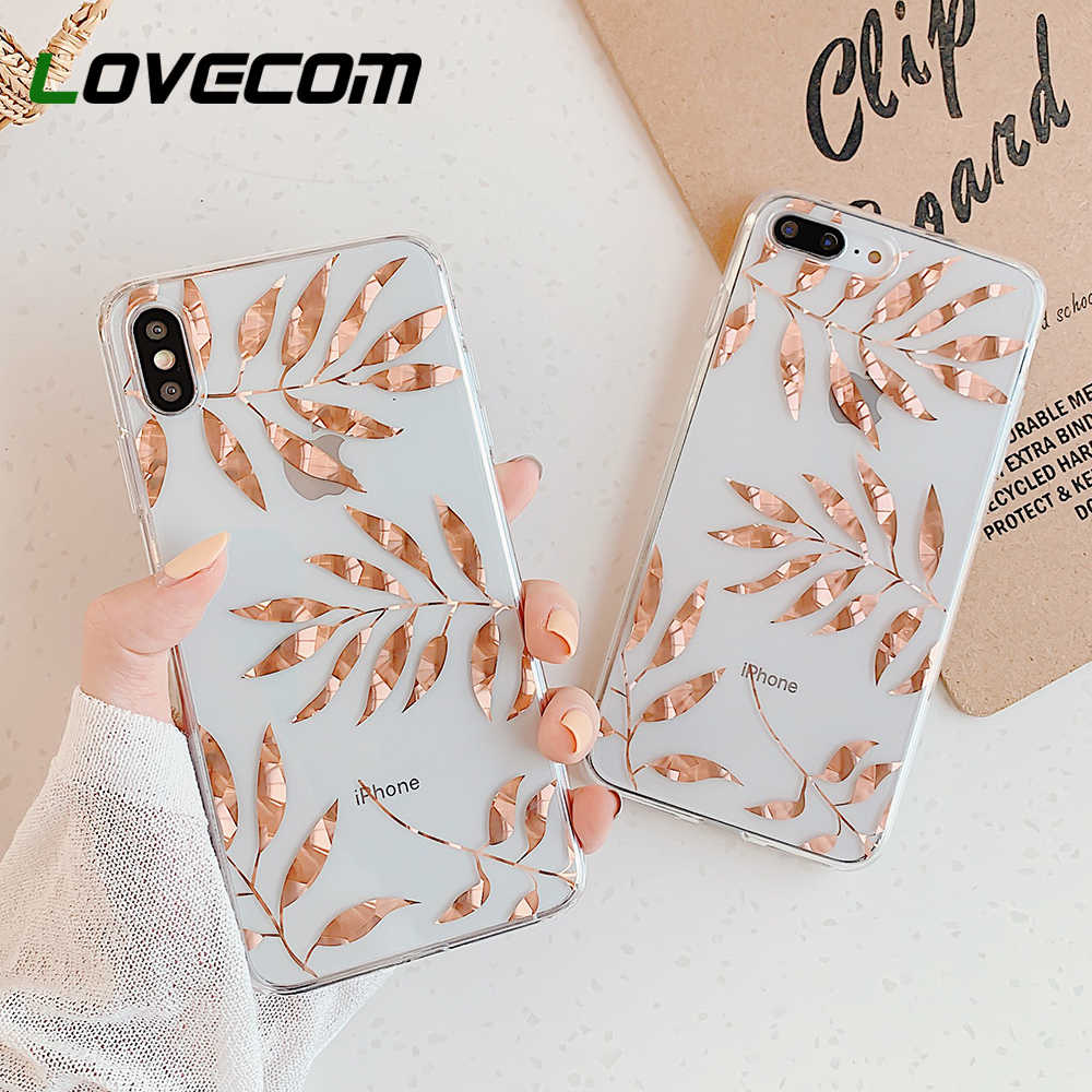 LOVECOM Rose Gold Leaves & Pineapple Phone Case For iPhone 11 Pro Max XR XS Max 7 8 Plus X Clear Soft Electroplated Back Cover