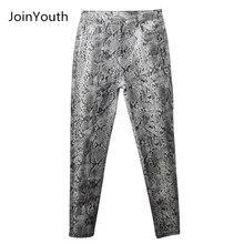 JoinYouth Mulheres Cobra Impressão Padrão Lápis Calças Das Senhoras de Cintura Alta calças Skinny Moda Outono Inverno Trecho Elástico Feminino