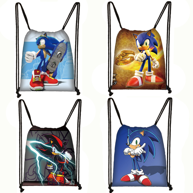 Anime Sonic Drawstring Bag Boys Girls Cartoon Backpack Teenager Storage Bags Children Bookbag Travel Bags