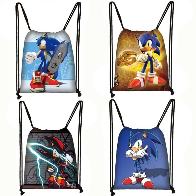 Anime Sonic Drawstring Bag Boys Girls Cartoon Backpack Teenager Storage Bags Children Bookbag Travel Bags