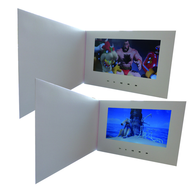 "Customization Smart 10"" LCD USB Smart Flip 1080P Color Screen LCD Video Photo Xmas Greeting Card Media Player"
