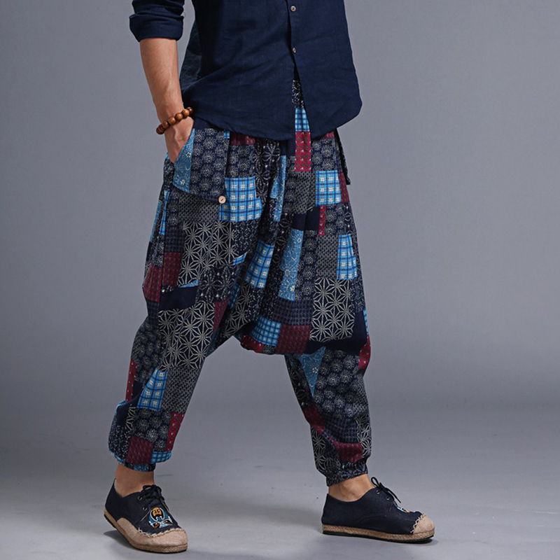 2019 New Style Printed Cotton Linen Men'S Wear Flax Medium Waist Thin Hose Pants Soft And Comfortable