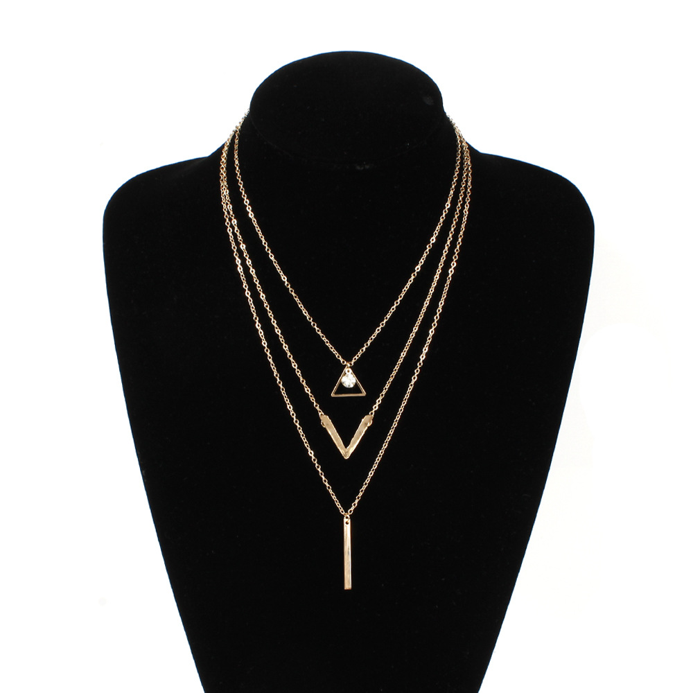 Personality Multi-layer Long Chain Necklace Triangular Hollow Metal Stick Pendant Necklaces For Women Fashion Neck Jewelry XL551