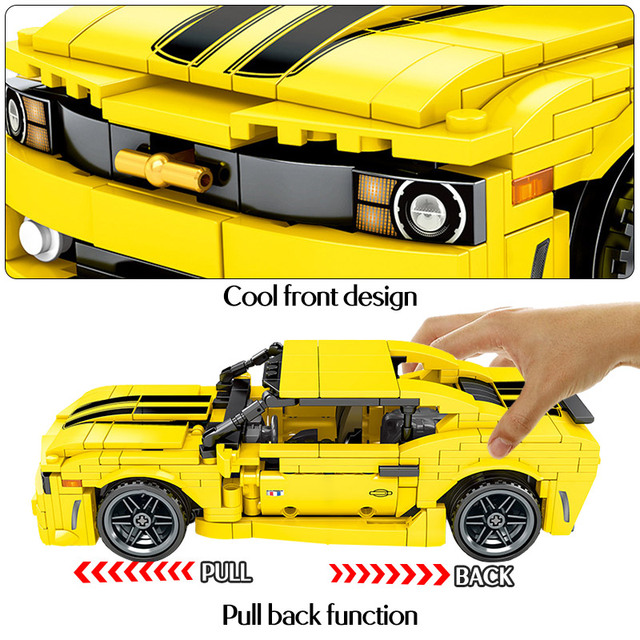 558pcs Creator Yellow Pull Back Sports Car Model Building Blocks Toys  City Technic Car Enlighten Bricks Toys For Kids