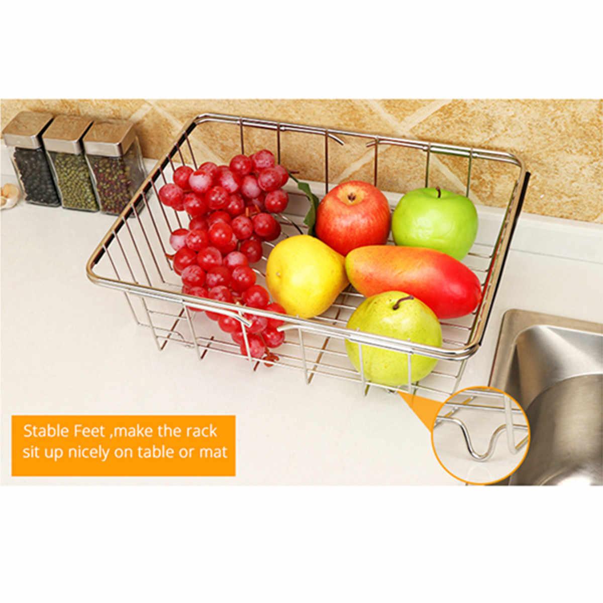 Multifungsi Adjustable Sink Dish Pengeringan Rack Stainless Steel Rak Penyimpanan Organizer Dapur Organizer Keranjang Penyimpanan