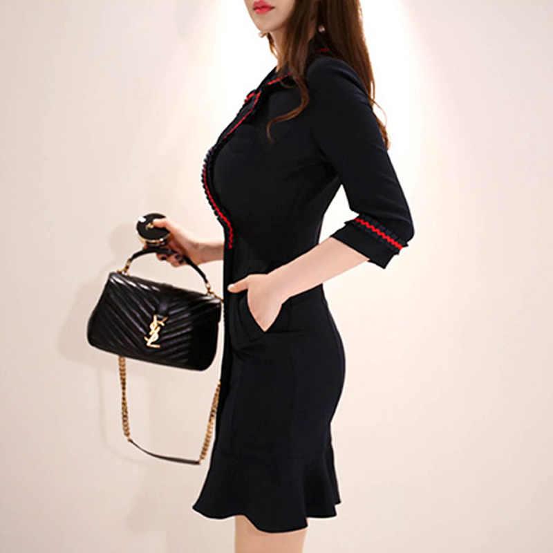 2020 bahar çentikli siyah Vestidos kruvaze Mini Fishtail Bodycon seksi ofis iş elbisesi