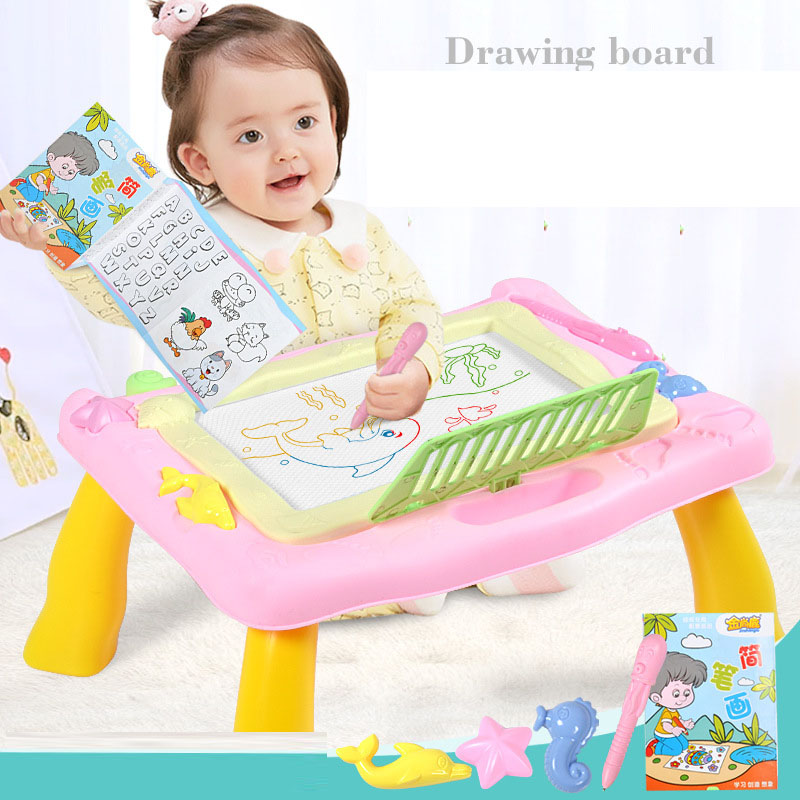 Multi-Function Drawing Board Table Toys Set Plastic Magnetic Cartoon Painting Writing Desk Toy For Children Early Learning Gift