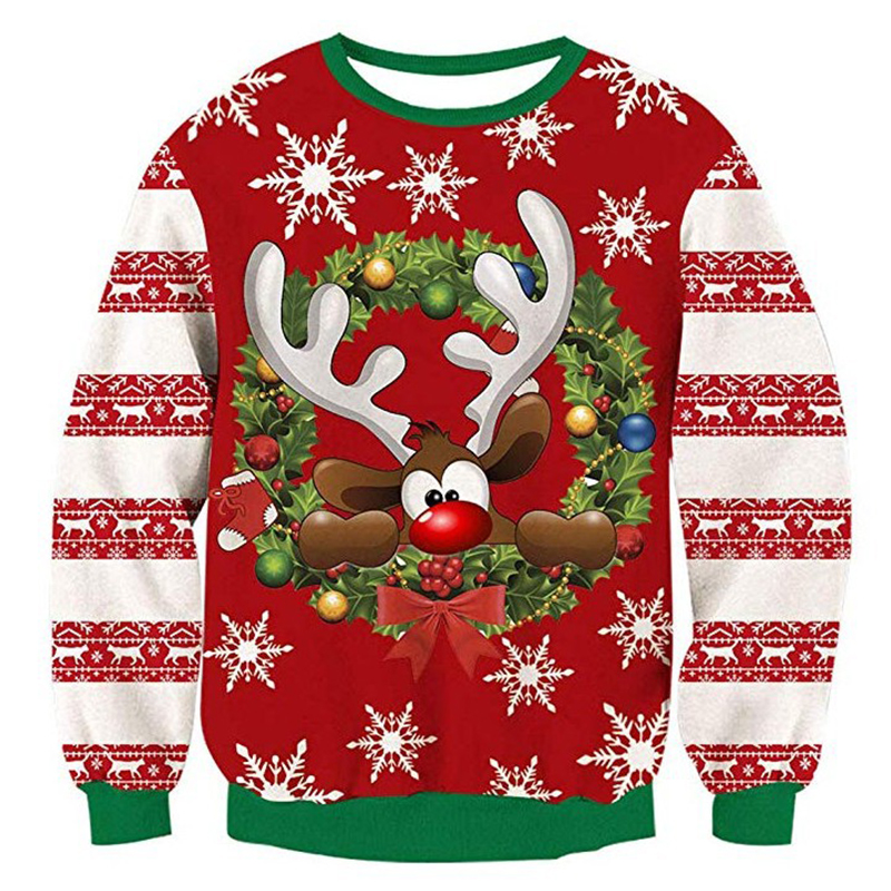 Christmas Sweater 3d Antler Print Novelty Ugly Christmas Sweater Unisex Men Women O Neck Long Sleeve Pullover Jumpers Sweater