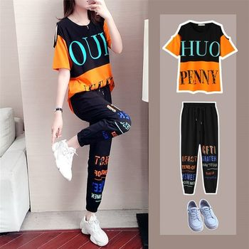 Sports suit female summer fashion 2020 new loose short-sleeved foreign casual clothes female tracksuit 2 piece set women 2 piece set women sports suit female summer 20 new loose hip hop foreign fashion two piece set tide two piece set top and pants