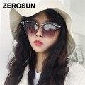 Zerosun Cat Eye Sunglasses Women Pearl Sun Glasses for Woman Cat'seye Semi Rimless Eyebow Gradient Vintage Shades