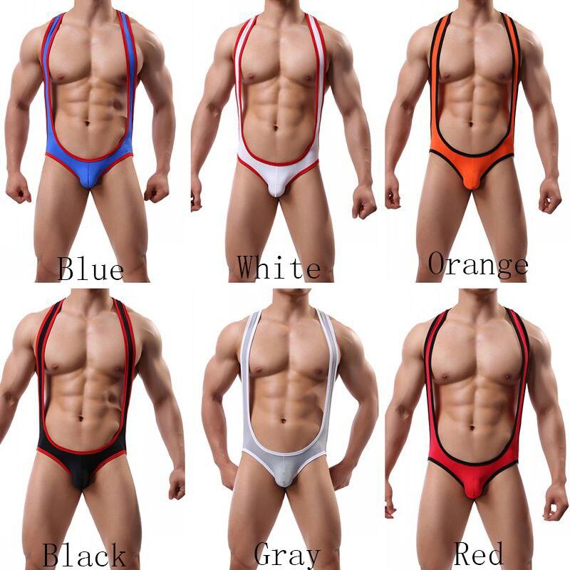2019 Men's Ice Silk Singlet Man Bodysuit Leotard Male Soft Underwear Shapers Sexy Man Shapewears