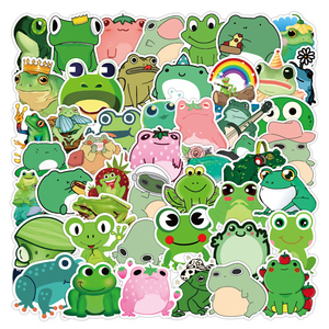 50PCS Cute Frog Sticker Gifts Toy For Kids Cartoon Animal Decal Stickers to DIY Stationery Helmet Laptop Bike Suitcase Guitar