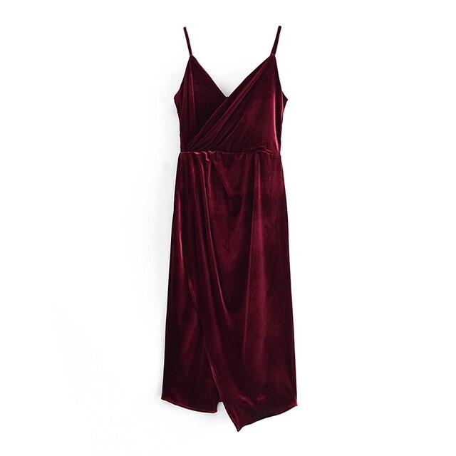 Tangada Women's Party Dress Red Velvet Midi Dress Strap Adjust Sleeveless 2021 Korean Fashion Lady Elegant Dresses QN45 7