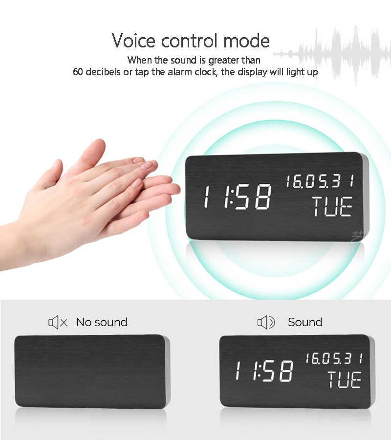 JINSUN Orologio Da Tavolo di Controllo del Suono Del Desktop di Allarme Luminoso Orologio per Bambini In Legno Calendario Moderno Luminosità Regolabile