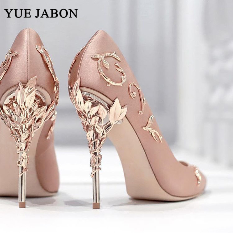 Elegant Silk Women Pumps Leaves Heel High Heels Rhinestone Flower Wedding Shoes Brand Design Pointed Toe shoes woman high heel