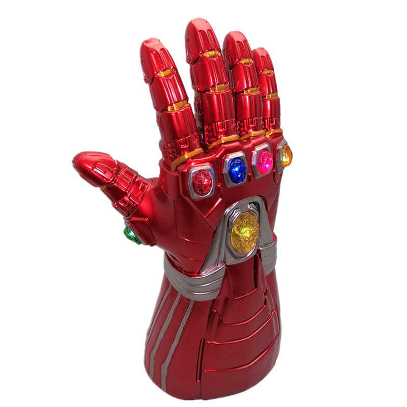 Nova Versão Infinity Gauntlet Thanos Luvas de PVC do DIODO EMISSOR de Luz para o Dia Das Bruxas Adereços LEVOU Gemas Separável, homem De Ferro adulto Gemas destacável