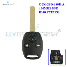 цена на Remote head key 433.9mhz HON66 3 button OUCG8D-380H-A for Honda car key remtekey