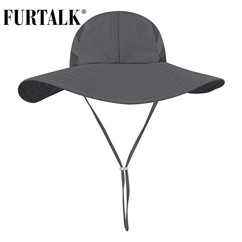 FURTALK Sun Hats For Women Men Summer Boonie Hat Wide Brim UV Protection Hat Hiking Cap Ponytail Bucket Cap Chapeau Femme