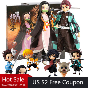 цена на 5-7cm Japan Anime Demon Slayer Kimetsu no Yaiba figure Kamado Tanjirou Nezuko Hashibira Inosuke PVC Action Figure Model Toy Gift