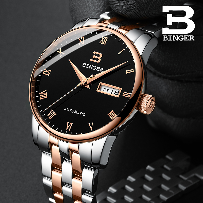 Automatic Mechanical Watches Luxury Brand Watch Men Business Clock Rose gold Steel Strap Simple Leisure Men Wristwatch Calendar