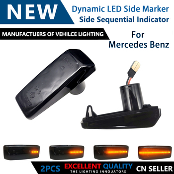 2pcs Dynamic LED Car Side Marker Lights Repeater Signal Lamp For Mercedes Benz 190 W201 A124 C-CLASS E-CLASS W124 SL-CLASS R129 image