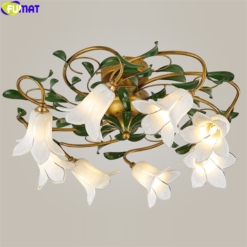 FUMAT Ceiling Lamp Lily Tulips Flower White Glass Lampshade Classical Light Chandeliers Rural American Style Home Decor Lighting