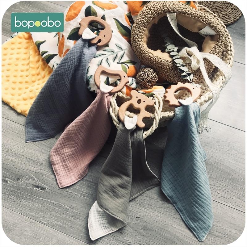 Bopoobo Baby Nursing Accessories Custom  Gender Neutral Clip Olive Oil Wooden Cotton Saliva Towel 5pcs Food Grade Wooden Teether