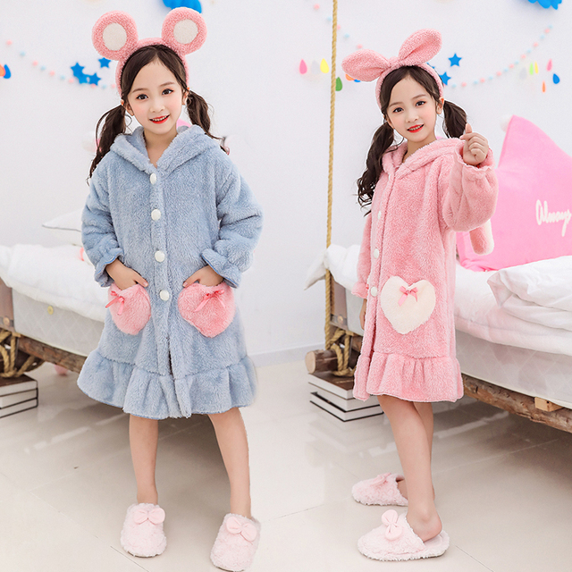 Kids Girl Robe 2020 Bathrobe Hooded for Girl Pyjamas Nightgown Double-sided Soft Flannel Pyjamas Children Warm Clothes 3-12Years 1