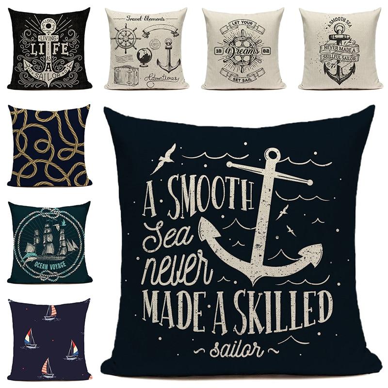 Cushion Cover Rustic Pillow Sail Boat Throw Pillows For Living Room Funda Cojin 45*45 Farmhouse Decor Nordic Decoration Home