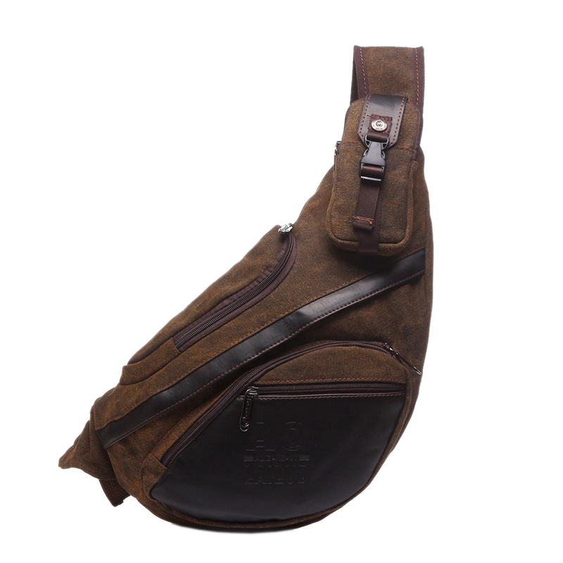 AOLAILUDI Men Canvas Backpack Bag Travel High Capacity Chest Bag Cross Body Single Rucksack Shoulder Bag