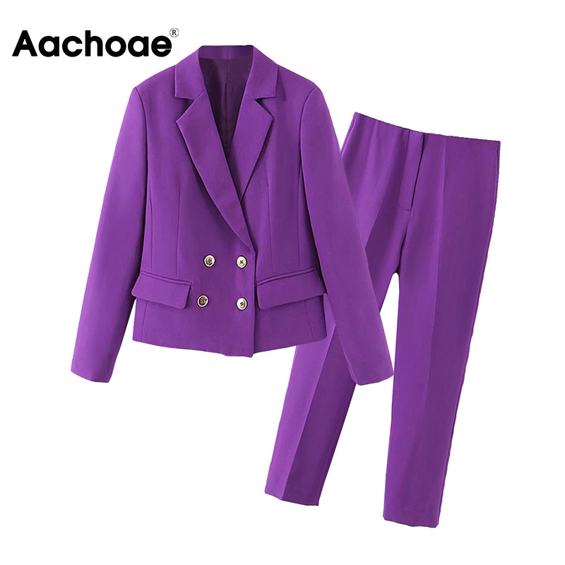 Women Fashion Solid Blazer Suits Long Sleeve Double Breasted Blazer Pants Set Purple Office Ladies Two-piece Blazer Sets