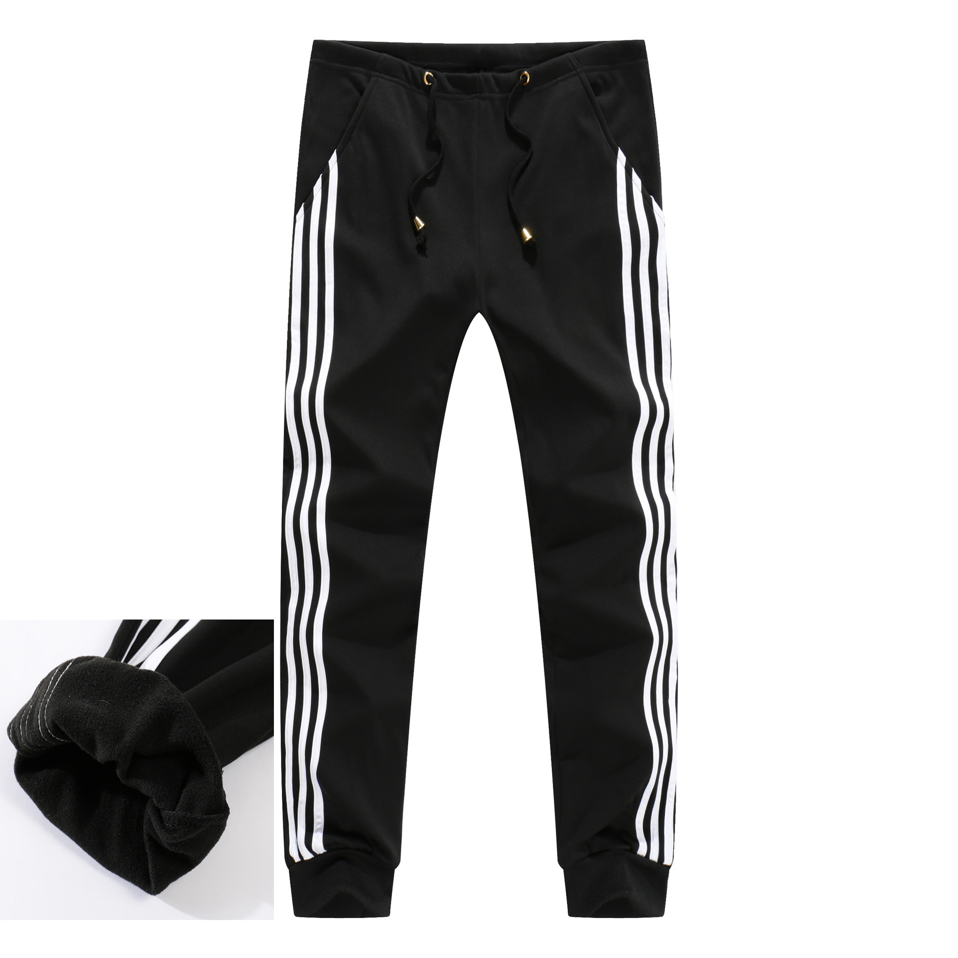 Men's Fleece Lining Sweatpants Men Winter Warm Joggers Track Pants Male Bodybuilding Fitness Thick Casual Trousers