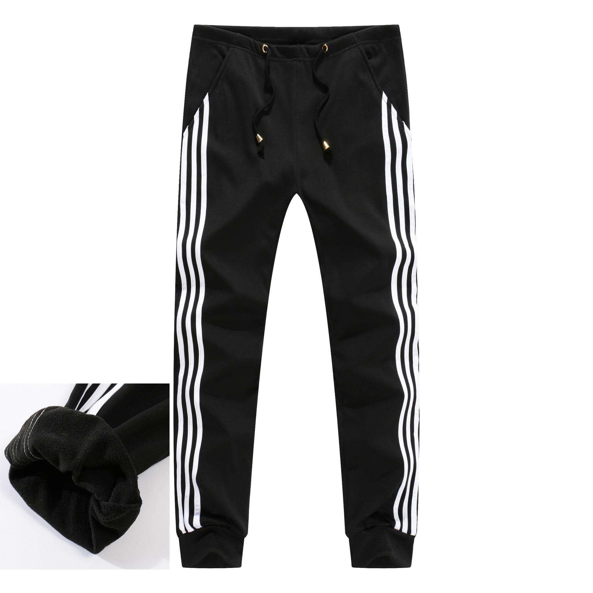Men's Fleece Lining Sweatpants Men Winter Warm Joggers Track Pants Male Bodybuilding Fitness Thick Casual Trousers