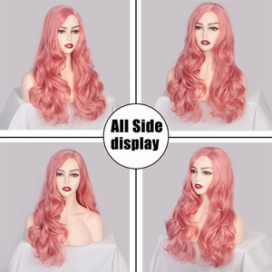 Image 3 - AISI QUEENS Synthetic Pink Wigs Long Wavy Wig for Women Black White Natural Free Parts Cosplay Hair Average Size