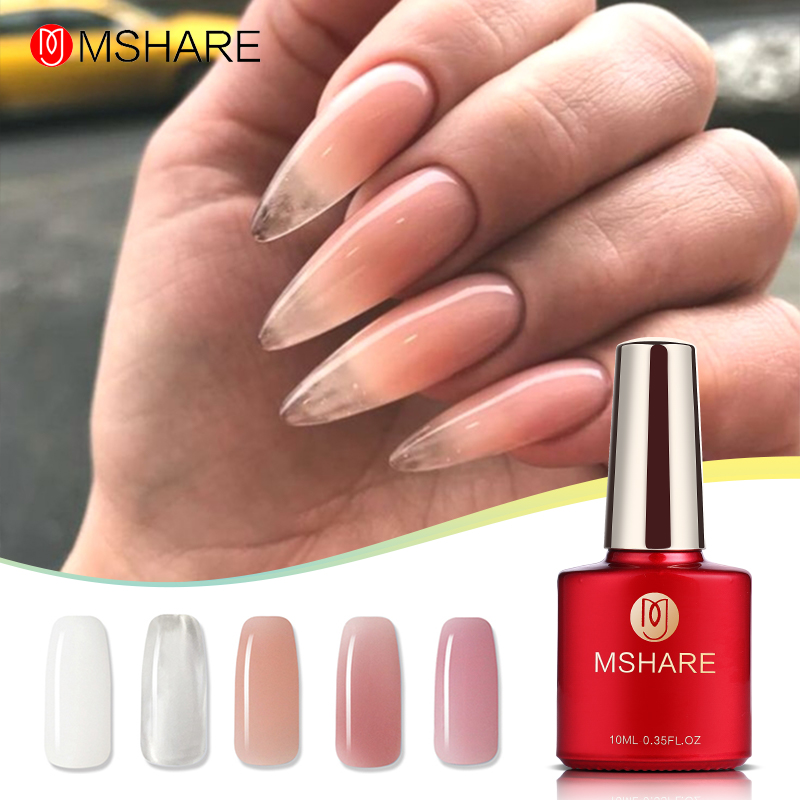 MSHARE Acrylic Poly Extension Gel Quick Building Clear Pink Nail Tips Builder UV Gel Nail Art Soak Off