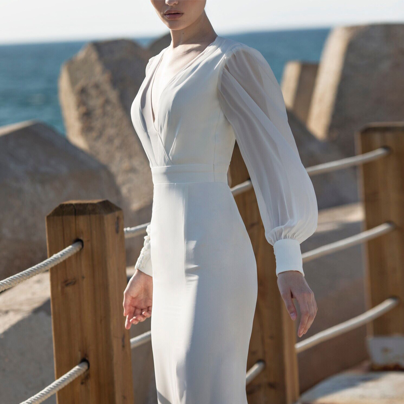 Длинные рукава зимние вечерние платья бодикон белые женские платья с открытой спиной Pacakge бедра платье русалка подол Сплит v образным вырез... - 4