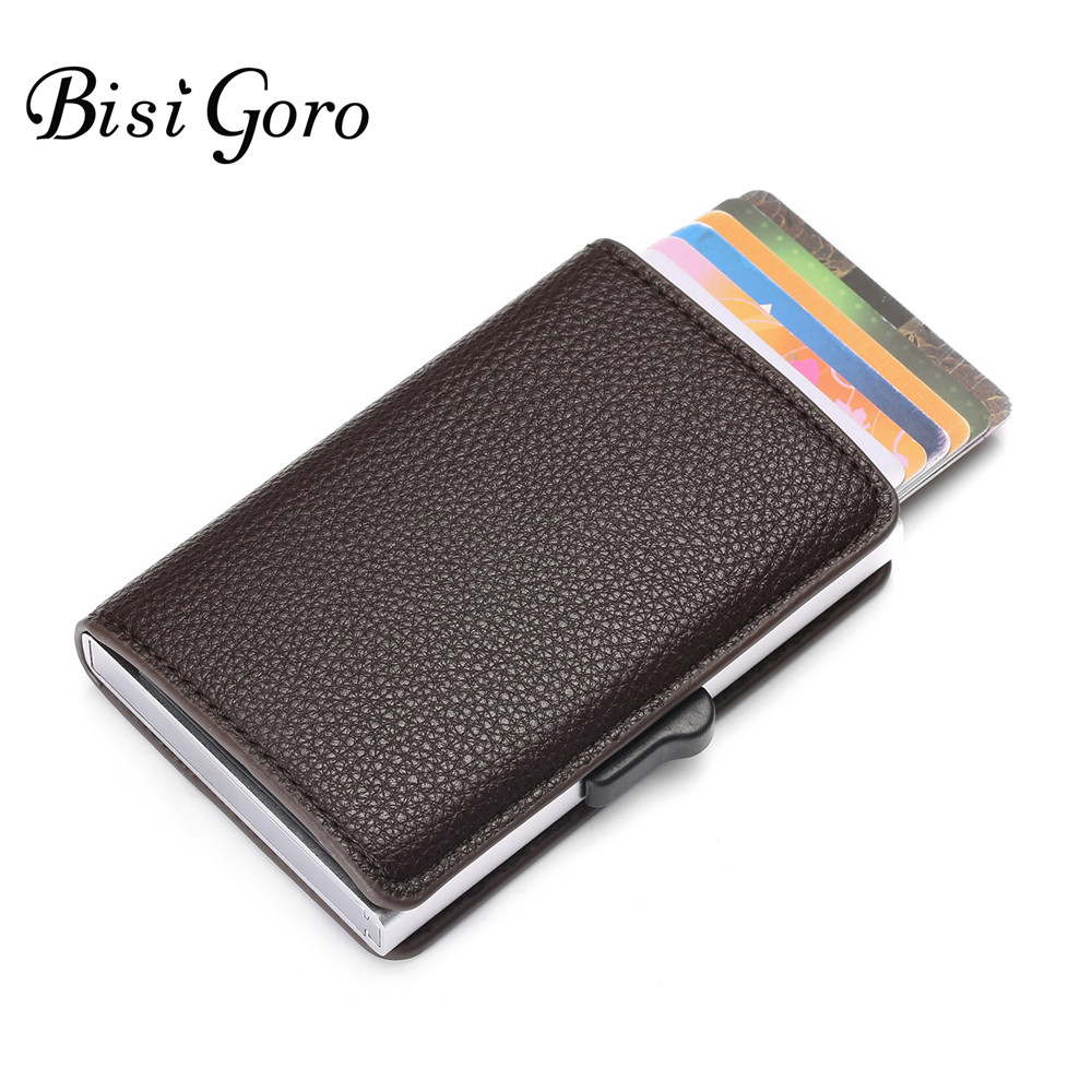 BISI GORO 2019 RFID Wallet Metal Business Blocking Card Holder Aluminum High Quality Soft Leather Slim Card Case Dropshipping