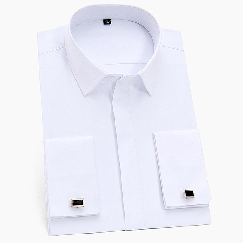 Men's Classic Hidden Buttons French Cuffs Solid Dress Shirt Formal Business Standard-fit Long Sleeve Shirts (Cufflink Included)