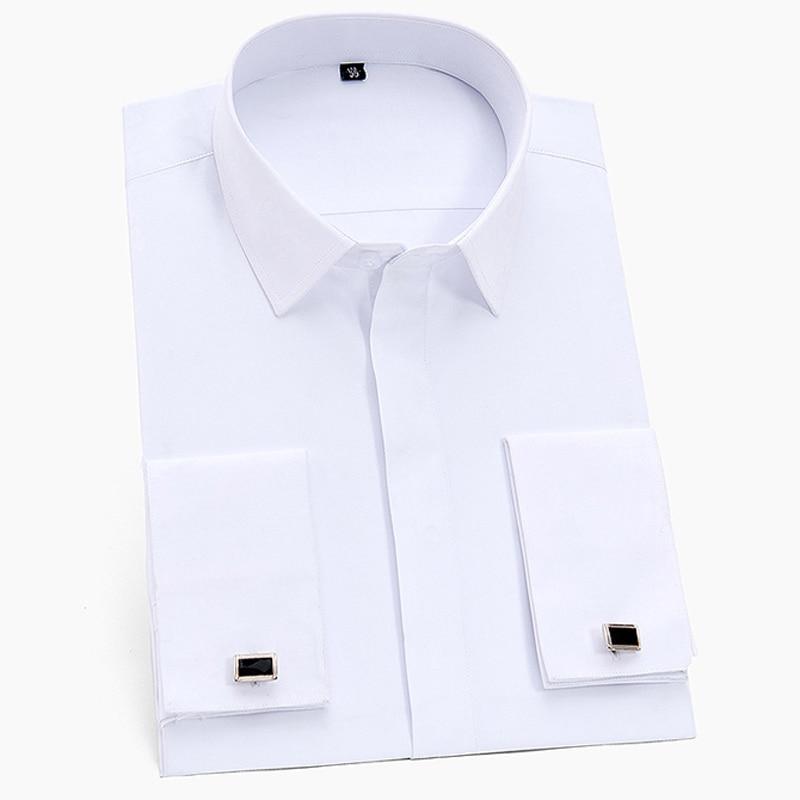 Men's Classic Hidden Buttons French Cuffs Solid Dress Shirt Formal Business Standard-fit Long Sleeve Shirts (Cufflink Included)