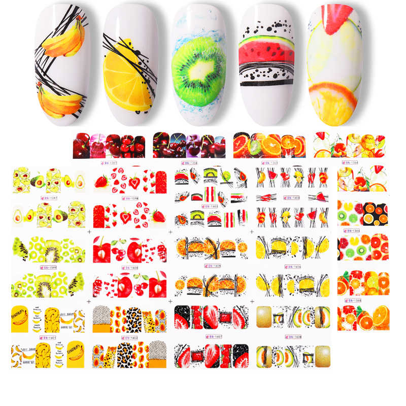 12 Buah Buah Musim Panas Air Decals Buah/Kiwi/Pisang/Lemon/ Strawberry Desain DIY Stiker Kuku Wraps slider Dekorasi