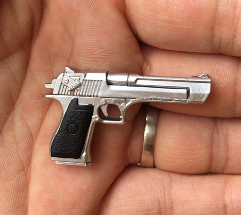 Mnotht 1/6 Scale Silver Color <font><b>Desert</b></font> <font><b>Eagle</b></font> Gun Model Pistol for 12inch action Figure Collection image