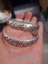 Tiguo trabajo a mano miao plata tallado china ajustar par pulsera
