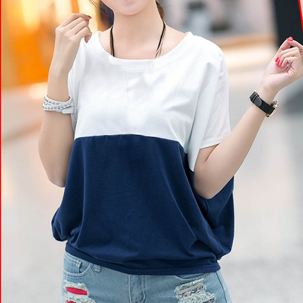 Fashion Patchwork Tunic Tops For Women Summer O-neck Short Sleeve Shirts Loose Blouses Casual Women Clothing Блузка Женская 2021 2