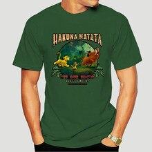 Black Lion King Hakuna Matata Motto Simba Timon Pumbaa T-Shirt 100% Cotton-2528D