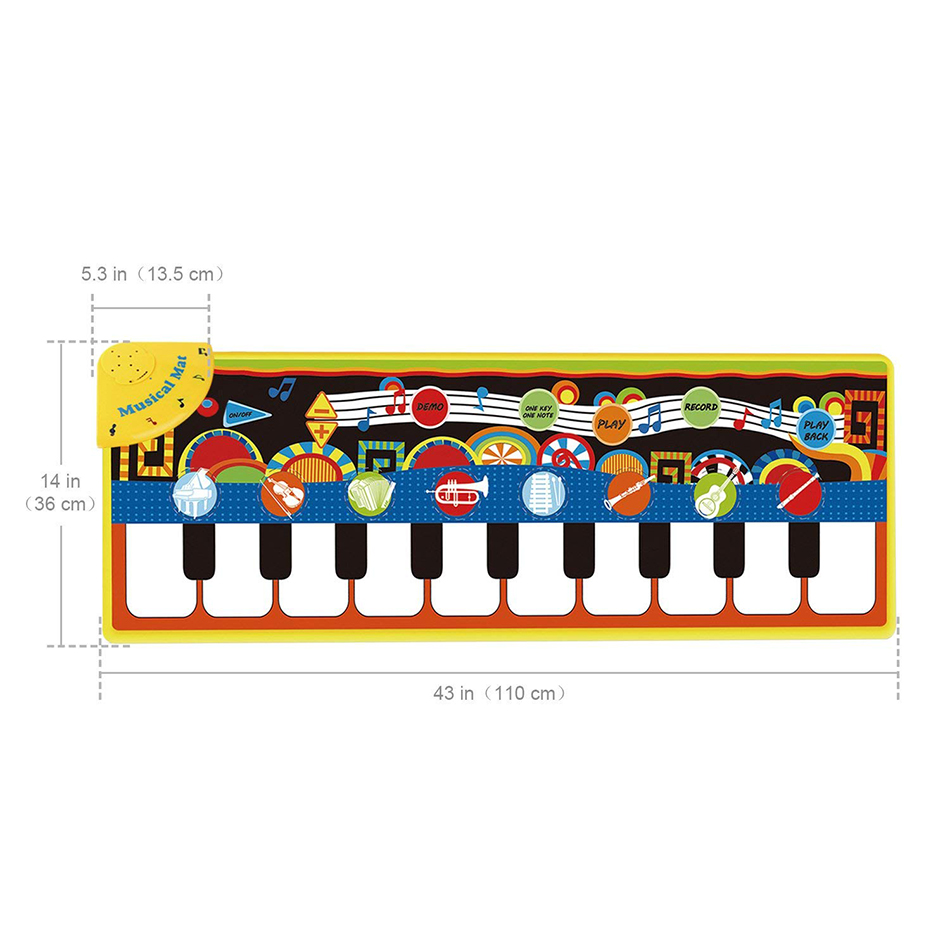 110x36cm Musical Piano Mat Baby Play Mat Toy Musical Instrument Mat Game Carpet Music Toys Educational 110x36cm Musical Piano Mat Baby Play Mat Toy Musical Instrument Mat Game Carpet Music Toys Educational Toys for Kids Xmas Gift