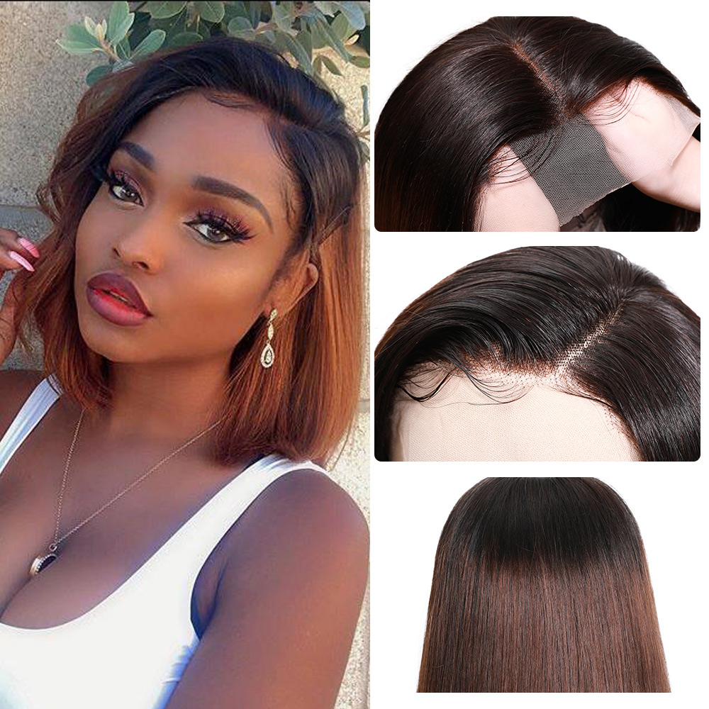 Nadula Wig T1B27 & 1B/4 Ombre Short Lace Front Wig 13*4 Straight  Bob Wig Pre Plucked Short Wigs for Black Women 2