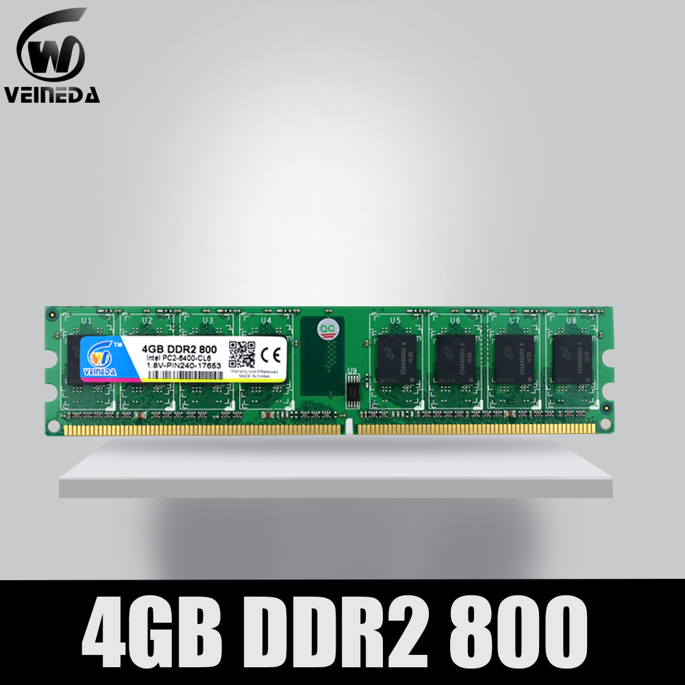 VEINEDA Memoria Ram <font><b>ddr2</b></font> <font><b>4gb</b></font> <font><b>800</b></font> pc2-6400 Compatible <font><b>ddr2</b></font> 4 gb 667 PC5300 for Intel AMD Mobo image