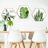 Framed Living Room Decoration Canvas Painting Hexagongal Background Wall Painting Bedroom Green Flowers Hexagon Hanging Poster