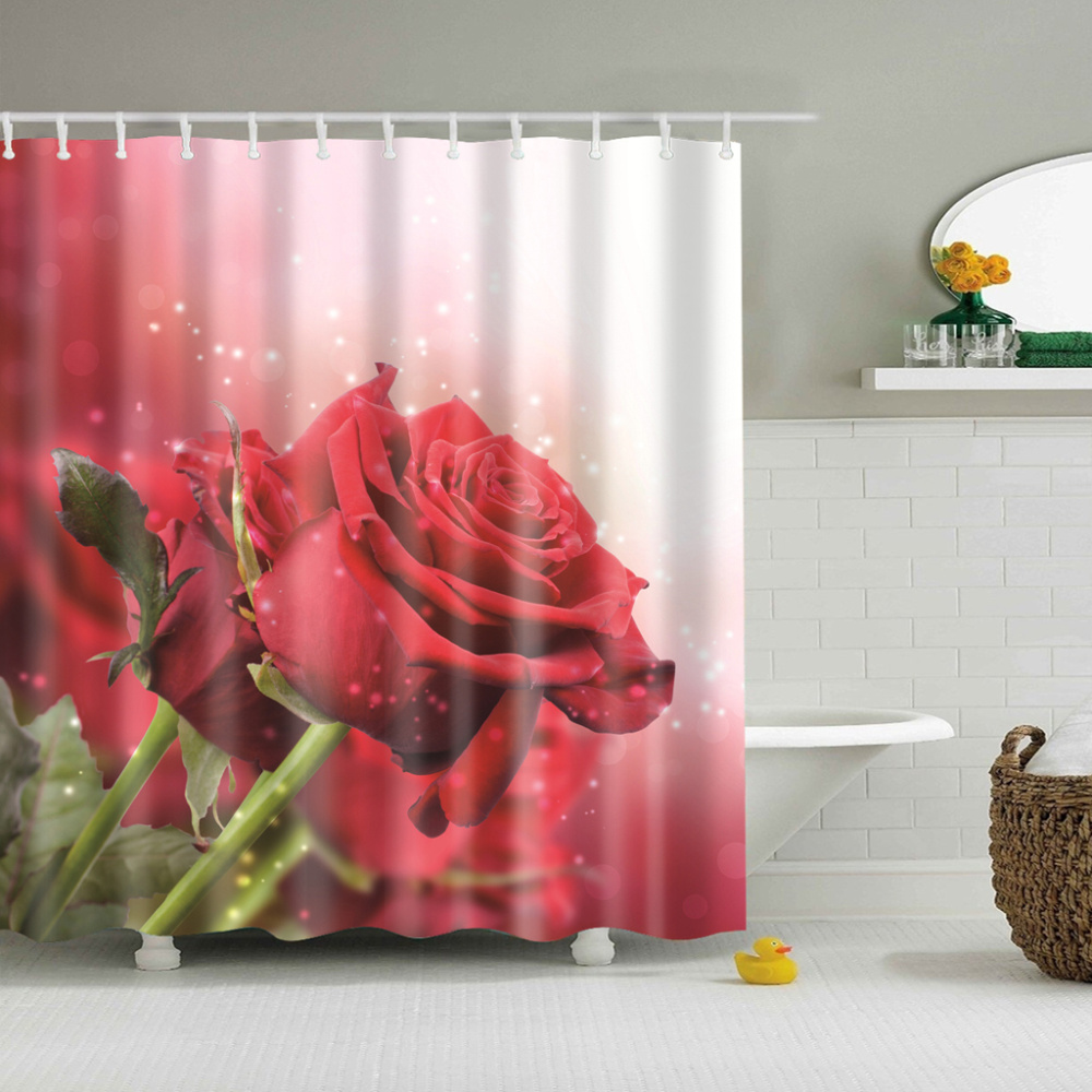 Red Rose Plants indoor Flowers shower curtain 3d Bath Single Printing Waterproof Polyester for bathroom Decor large 180x200cm