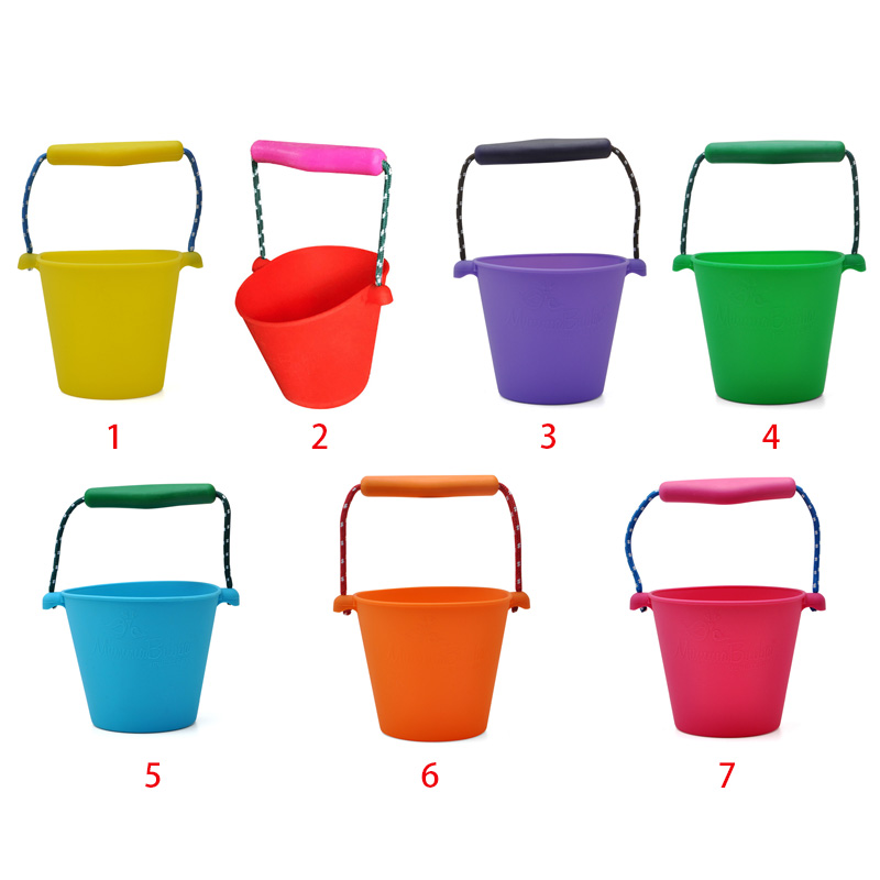 Beach Bucket Silicone Folding Hand-held Barrel Toy Baby Kids Shower Bath Toy Sand Dabbling Pour Water Toy 7 Colors